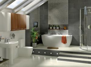 Une salle de bain de style moderne et sobre